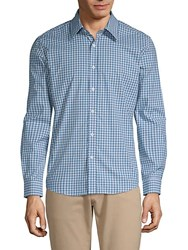 Hyden Yoo Plaid Cotton Button Down Shirt Blue