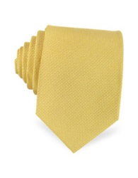 Forzieri Solid Woven Silk Tie Yellow