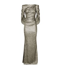 Talbot Runhof Sequined Cape Back Gown Female Metallic