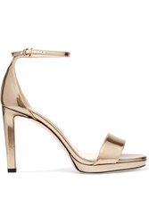 Jimmy Choo Misty 85 Metallic Leather Sandals Gold Gbp
