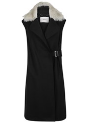Schumacher Black Wool Blend Gilet Black And Grey