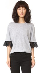 Dsquared T Shirt With Lace Detail Grey Melange Black
