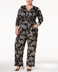 Ny Collection Plus Size Printed Cold Shoulder Jumpsuit Onyx