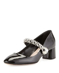 Miu Miu Jewel Strap Mary Jane Pump Black
