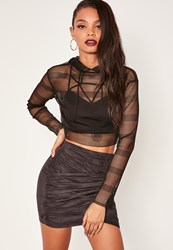 Missguided Black Gathered Faux Suede Wrap Front Mini Skirt