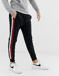 Abercrombie And Fitch Logo Side Tape Tricot Cuffed Joggers In Black