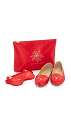 Charlotte Olympia Cat Nap Slipper Set Red