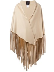Agnona Fringed Cape Nude And Neutrals