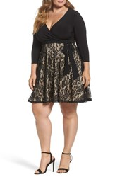 Soprano Plus Size Women's Lace Skirt Skater Dress Black