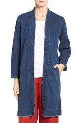 Eileen Fisher Women's Denim Long Shawl Collar Jacket