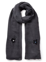 East Floral Embroidered Scarf Grey