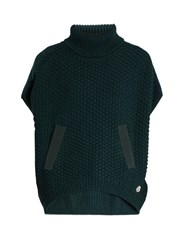 Moncler Roll Neck Logo Applique Wool Poncho Green