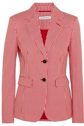 Altuzarra Fenice Gingham Cotton Blend Twill Blazer Red
