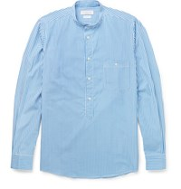 Richard James Grandad Collar Bengal Striped Cotton Shirt Blue