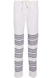 Lemlem Tinish Striped Cotton Blend Gauze Straight Leg Pants Blue