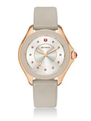 Michele Cape Topaz Rose Goldtone Stainless Steel And Silicone Strap Watch Taupe