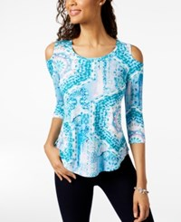 Jm Collection Petite Printed Cold Shoulder Top Created For Macy's Aqua Bollywood