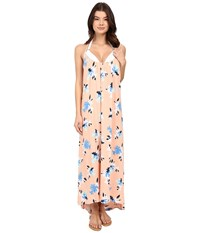 Vince Camuto Floral Racerback Maxi Cover Up Dress Peach Rose Women's Swimwear Pink