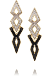 Noir Gold Plated Enamel And Cubic Zirconia Earrings Black