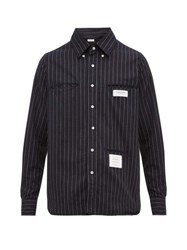 Thom Browne Inside Out Striped Cotton Shirt Navy