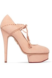 Charlotte Olympia Ophelia Suede Pumps Blush