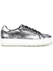 Diesel Metallic Platform Sneakers Women Calf Leather Leather Polyester Rubber 38 Black