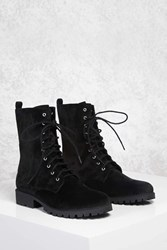 Forever 21 Faux Suede Combat Boots Black
