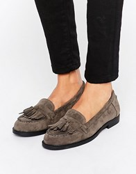New Look Suedette Fringe Loafer Grey