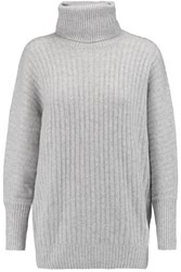 N.Peal Cashmere Turtleneck Ribbed Knit Cashmere Sweater Gray