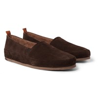 Mulo Shearling Lined Suede Slippers Brown