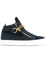 Giuseppe Zanotti Design Chain Trimmed Mid Top Sneakers Blue
