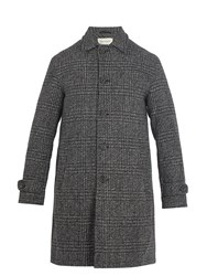 Oliver Spencer Beaumont Point Collar Checked Wool Coat Grey