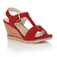 Lotus Mirror Wedge Sandals Red