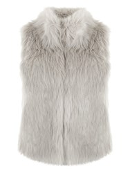 Mint Velvet Textured Faux Fur Gilet Grey