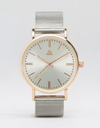 Asos Silver And Rose Gold Clean Mesh Strap Watch Silver