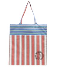 Stella Mccartney Members Print Striped Cotton Canvas Tote Red Multi
