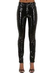 Saint Laurent Sequined Skinny Stretch Jeans Black