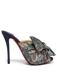 Christian Louboutin Moniquissima 120 Paisley Satin And Denim Mules Blue Multi