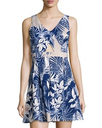 Romeo And Juliet Couture Cutout Leaf Print Sleeveless Dress Beige Blue