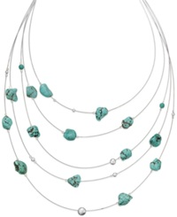 Macy's Manufactured Turquoise And Bead Multi Row Illusion Necklace In Sterling Silver 50 Ct. T.W.
