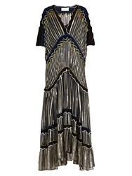 Peter Pilotto Cut Out Sleeve Chiffon Gown Navy Gold
