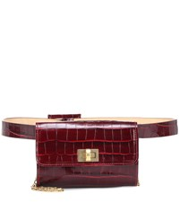 Max Mara Embossed Leather Belt Bag Red
