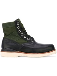 Visvim Lace Up Boots Men Leather Suede Foam Rubber 12 Green