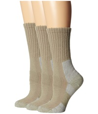 Thorlos Trail Hiking Crew 3 Pair Pack Khaki Women's Crew Cut Socks Shoes