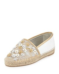 Rene Caovilla Flower Embellished Lace Espadrille Flat Silver Gold Silver Gold