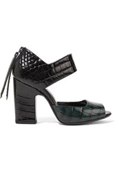 Pierre Hardy Croc Effect Leather Sandals Emerald