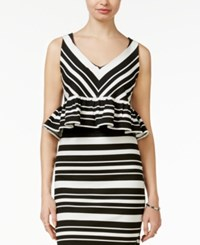Bar Iii Striped Peplum Crop Top Only At Macy's Black Combo