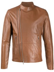 Desa 1972 Fitted Leather Jacket Brown
