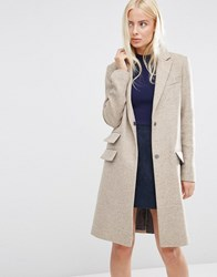 Asos Wool Blend Slim Coat With Pocket Detail Oatmeal Brown