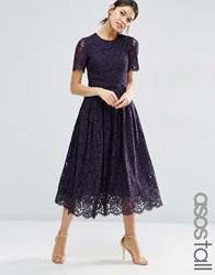 Asos Tall Lace Crop Top Midi Prom Dress Navy